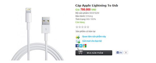 Cáp Lightning của iPhone 5