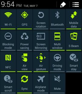 Vuốt màn hình của Galaxy S4 để hiện các Quick Settings