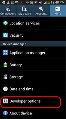 Bạn chọn phần Developer Options trên Samsung Galaxy S4
